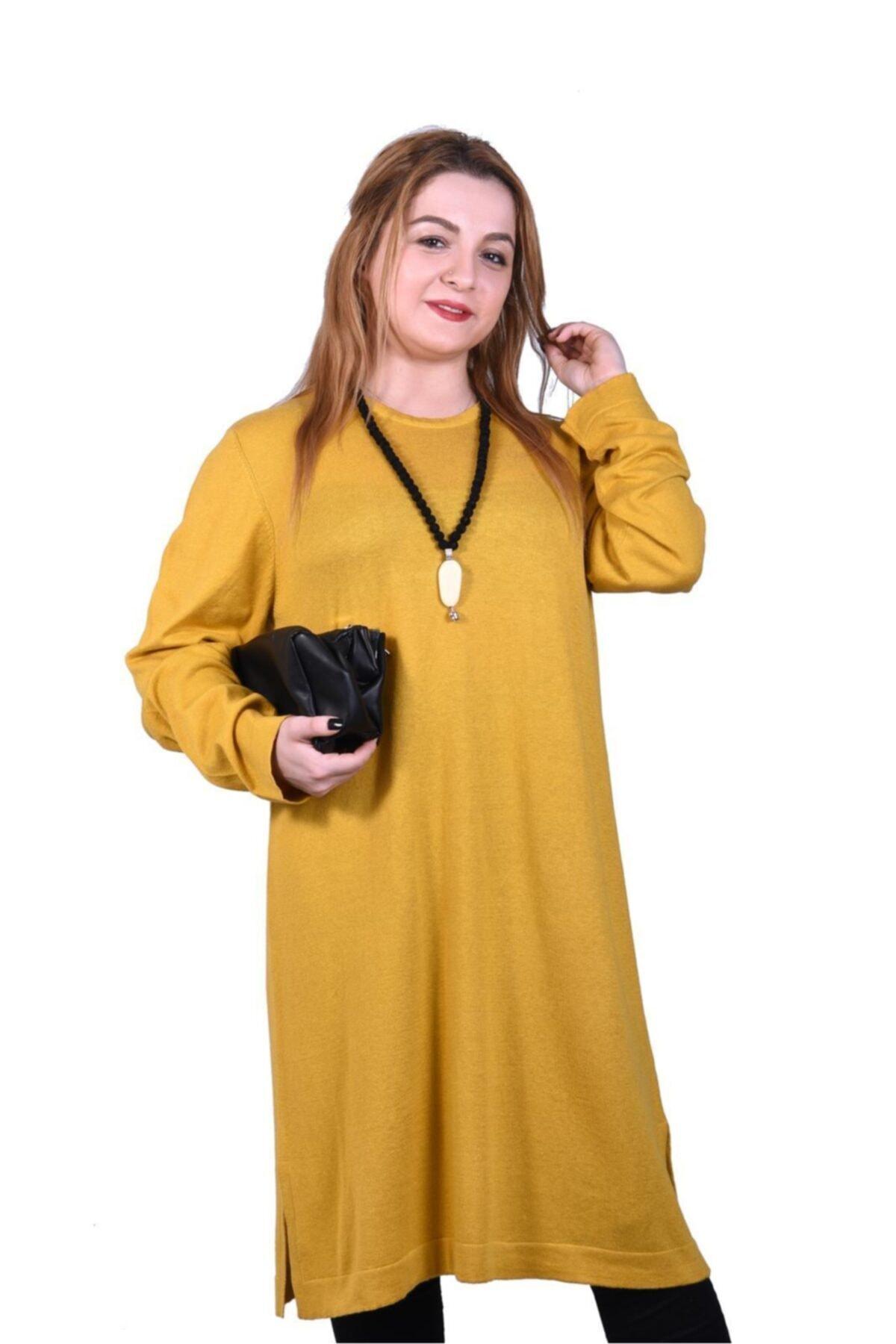 Novinza Kadın Büyük Beden Ince Örgü Basıc Triko Tunik-hardal 1