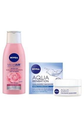 Nivea Aqua Sensation Canlandırıcı Bakım Kremi 50 ml Yüz Micellaır Gül Suyu Süt Tonik 200 ml