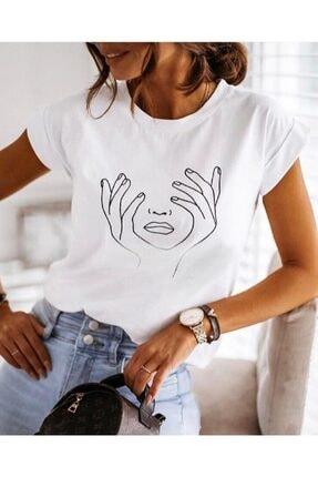 Bella Kadın Beyaz Baskılı Basic  T-shirt