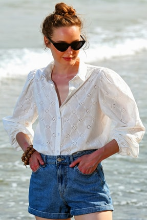 Trend Alaçatı Stili Kadın Beyaz Güpür Dokuma Premıum Gömlek ALC-X4366