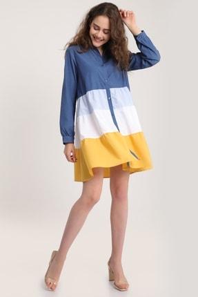 MD trend Kadın Indigo Renkli Kat Kat Tunik Gömlek Mdt5926