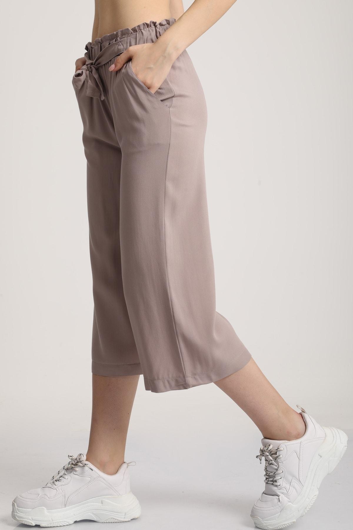 MD trend Kadın Taş Bel Lastikli Bağlamalı Kısa Pantolon Mdt5979 2