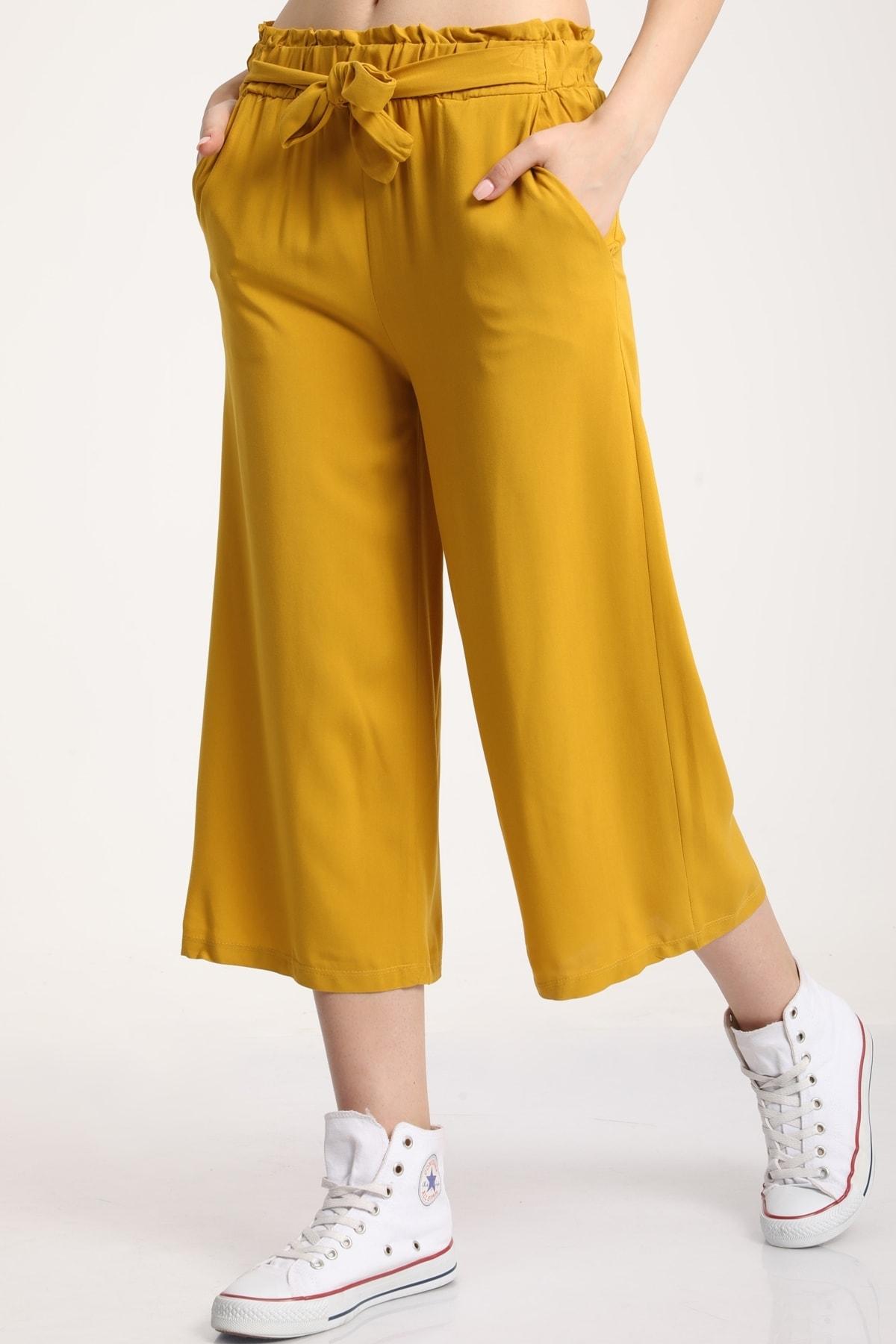 MD trend Kadın Hardal Bel Lastikli Bağlamalı Kısa Pantolon Mdt5979 2