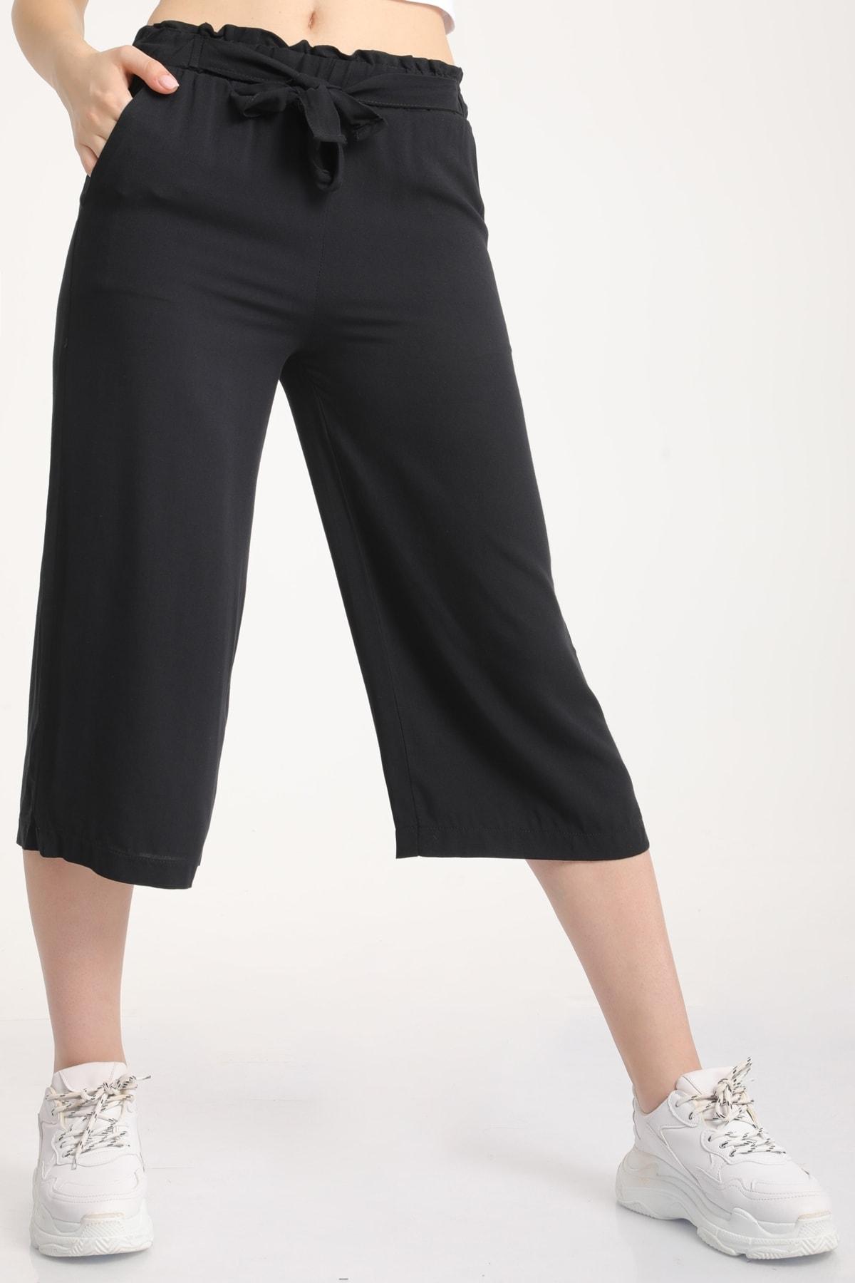 MD trend Kadın Siyah Bel Lastikli Bağlamalı Kısa Pantolon Mdt5979 1