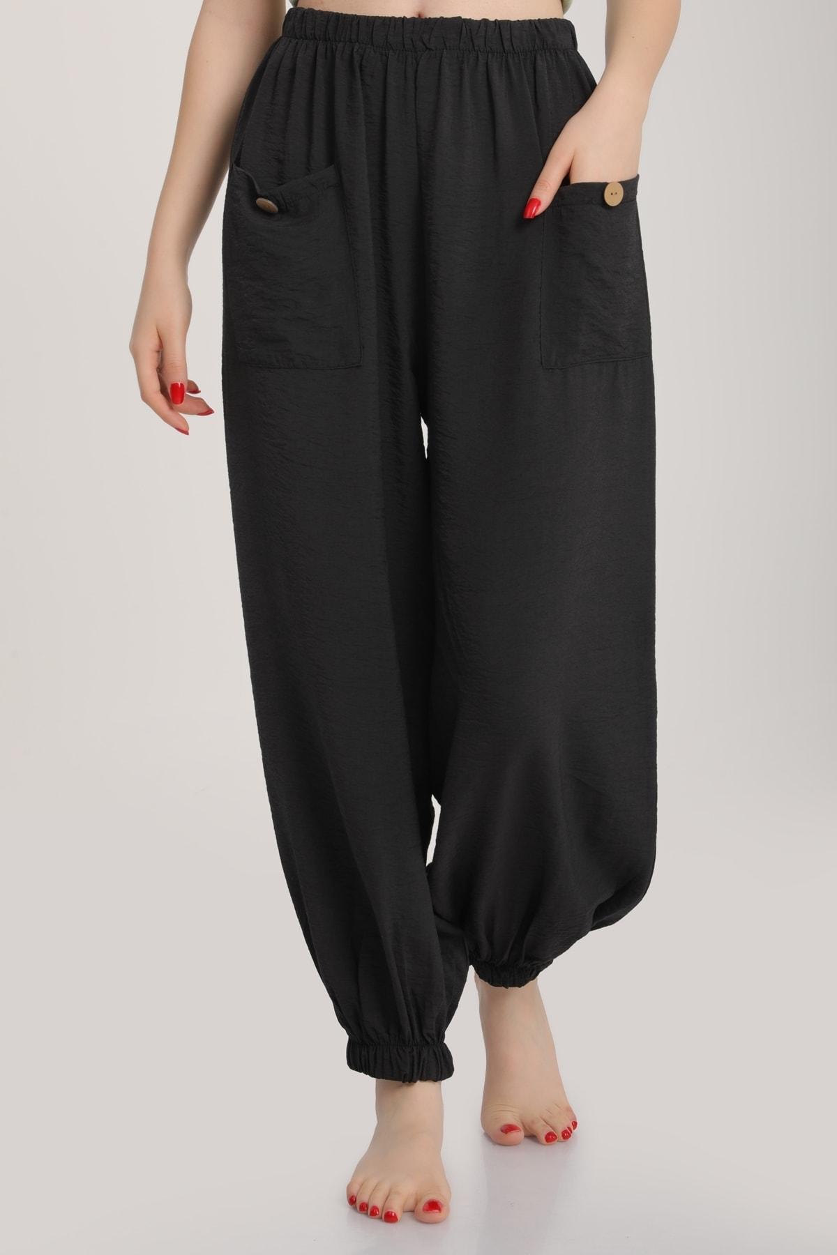 MD trend Kadın Siyah Bel Lastikli Salaş Pantolon Mdt6144 2