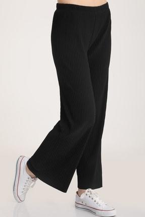 MD trend Kadın Siyah Piliseli Bel Lastikli Salaş Pantolon Mdt5792