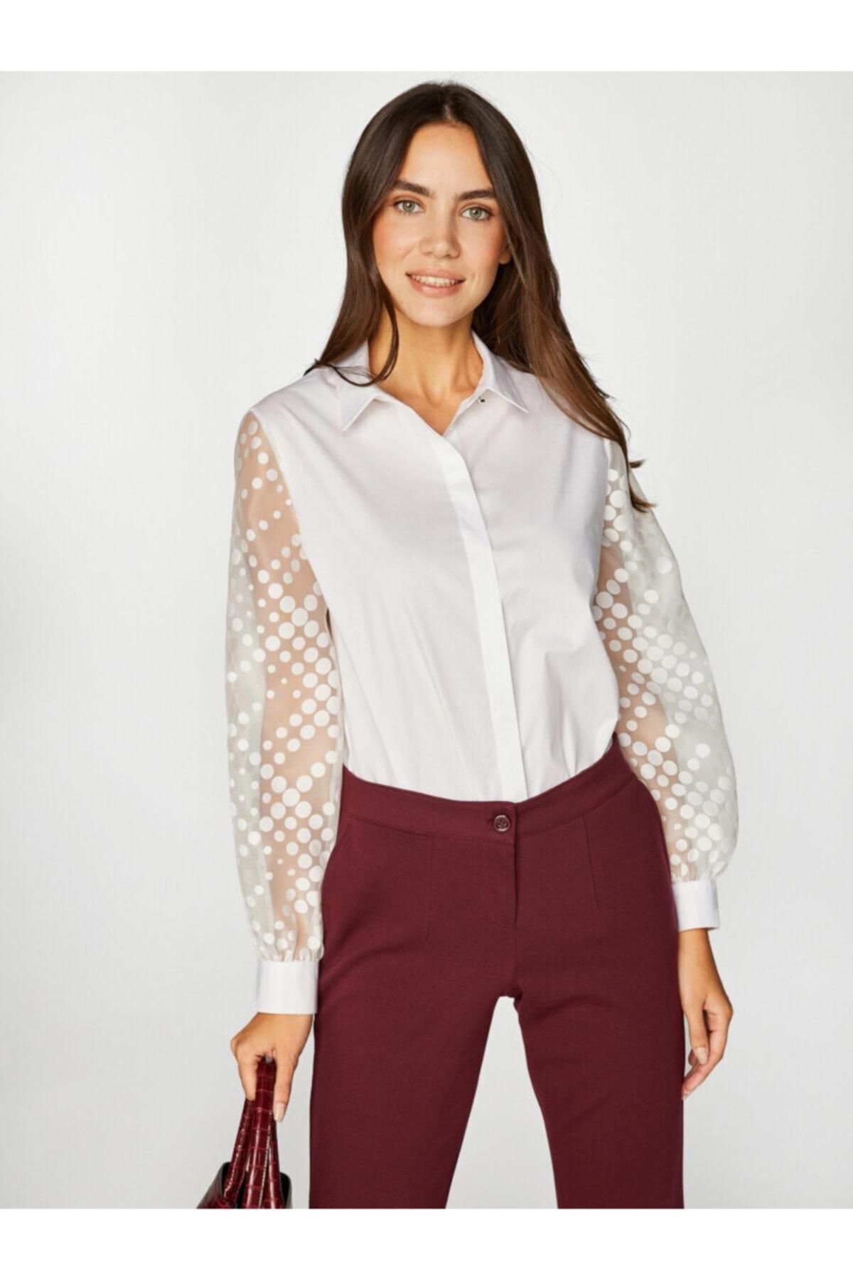 Faik Sönmez Kadın Beyaz Gömlek 39320 U39320 2