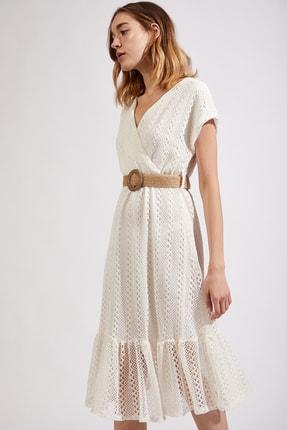 Happiness İst. Kadın Bej Kemerli Anvelop Örme Yazlık Elbise Dk00018