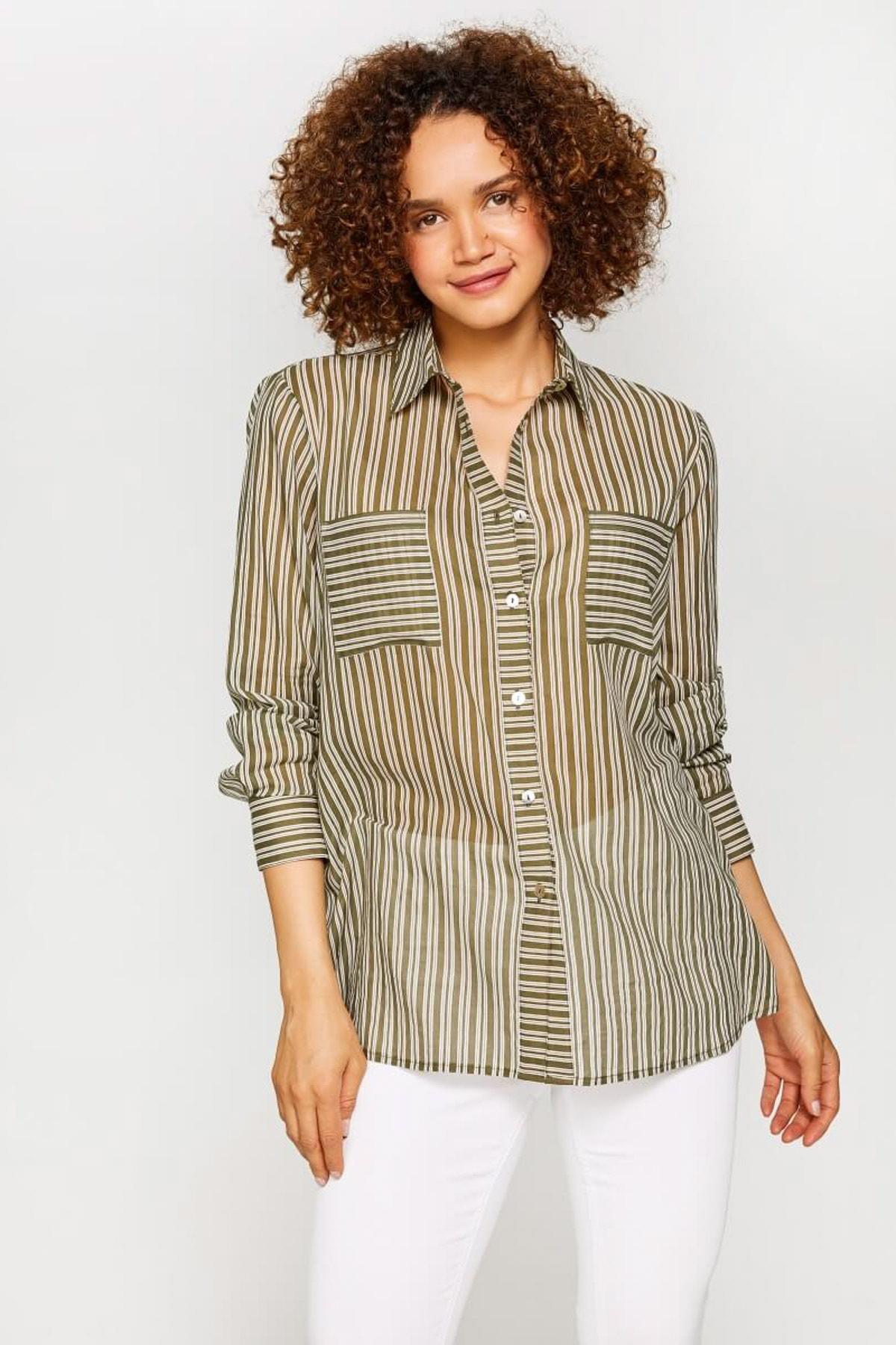 Faik Sönmez Kadın Çağla Çizgili Gömlek 60094 U60094 1