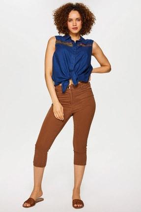 Faik Sönmez Kadın Latte Slim Fit Coton Parça Boya Capri 60067 U60067