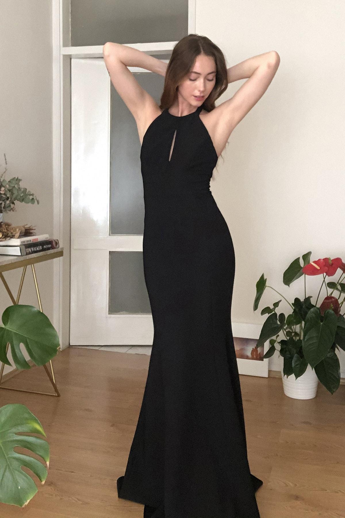 TRENDYOLMİLLA Siyah Yaka Detaylı Abiye & Mezuniyet Elbisesi TPRSS20AE0205 2