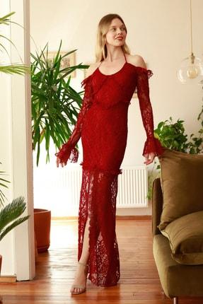 TRENDYOLMİLLA Bordo Drape Detaylı Dantel Abiye  Elbise TPRSS20AE0099