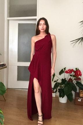 TRENDYOLMİLLA Bordo Tek Omuz  Abiye & Mezuniyet Elbisesi TPRSS20AE0160