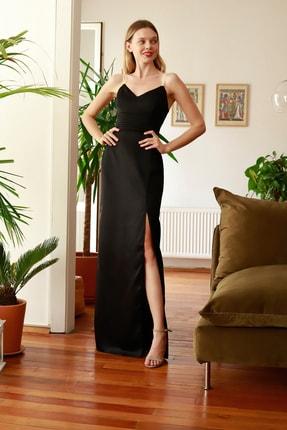 TRENDYOLMİLLA Siyah İnci Askılı Abiye & Mezuniyet Elbisesi TPRSS20AE0127