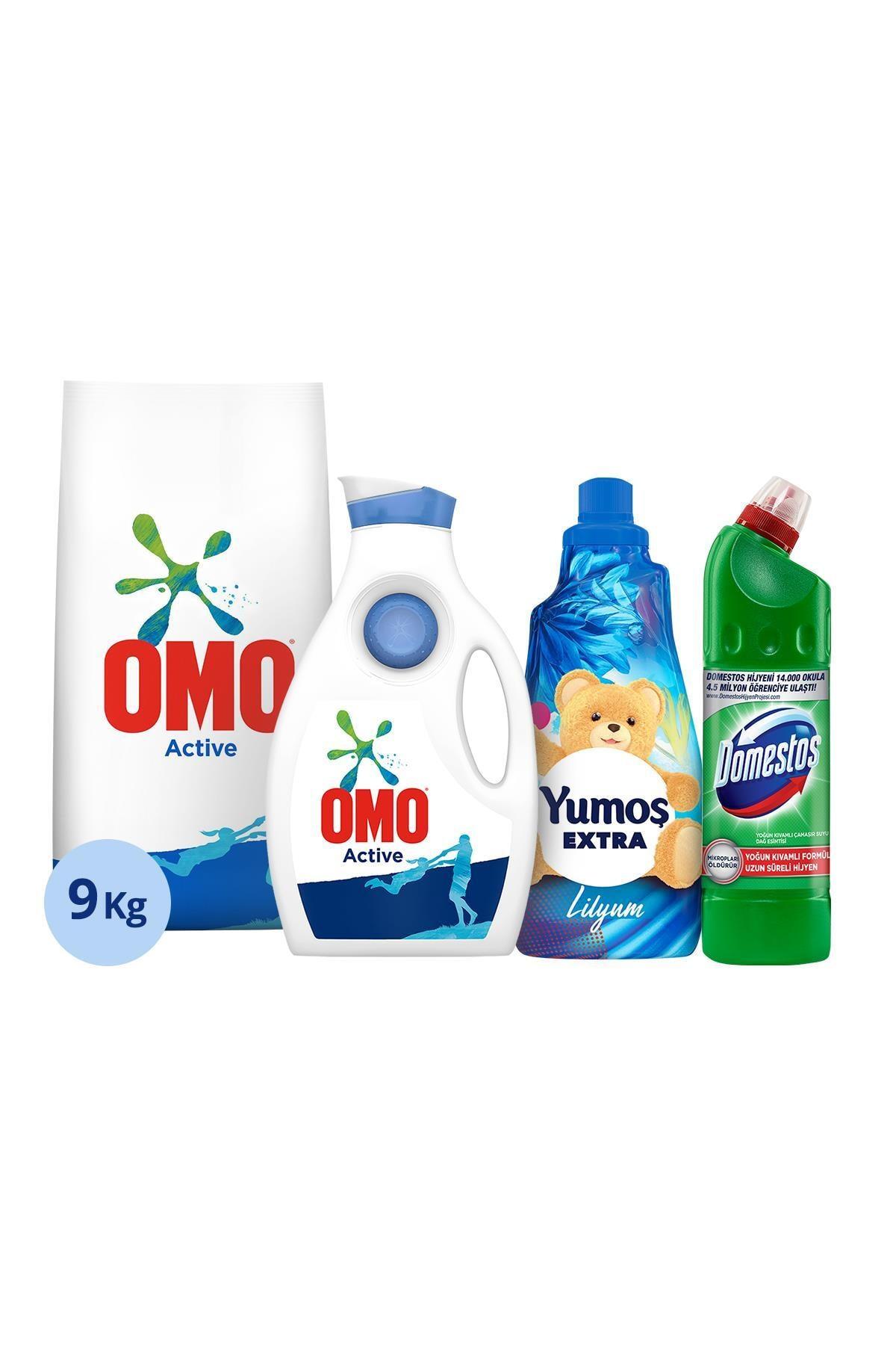 Omo Active Toz Det. 9kg + Yumoş Lilyum 1440ML + Domestos 750ML + Omo Active Sıvı Çam. Det. 1950ML