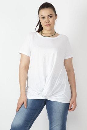 Şans Kadın Beyaz Pamuklu Kumaş Bel Detaylı Bluz 65N16426