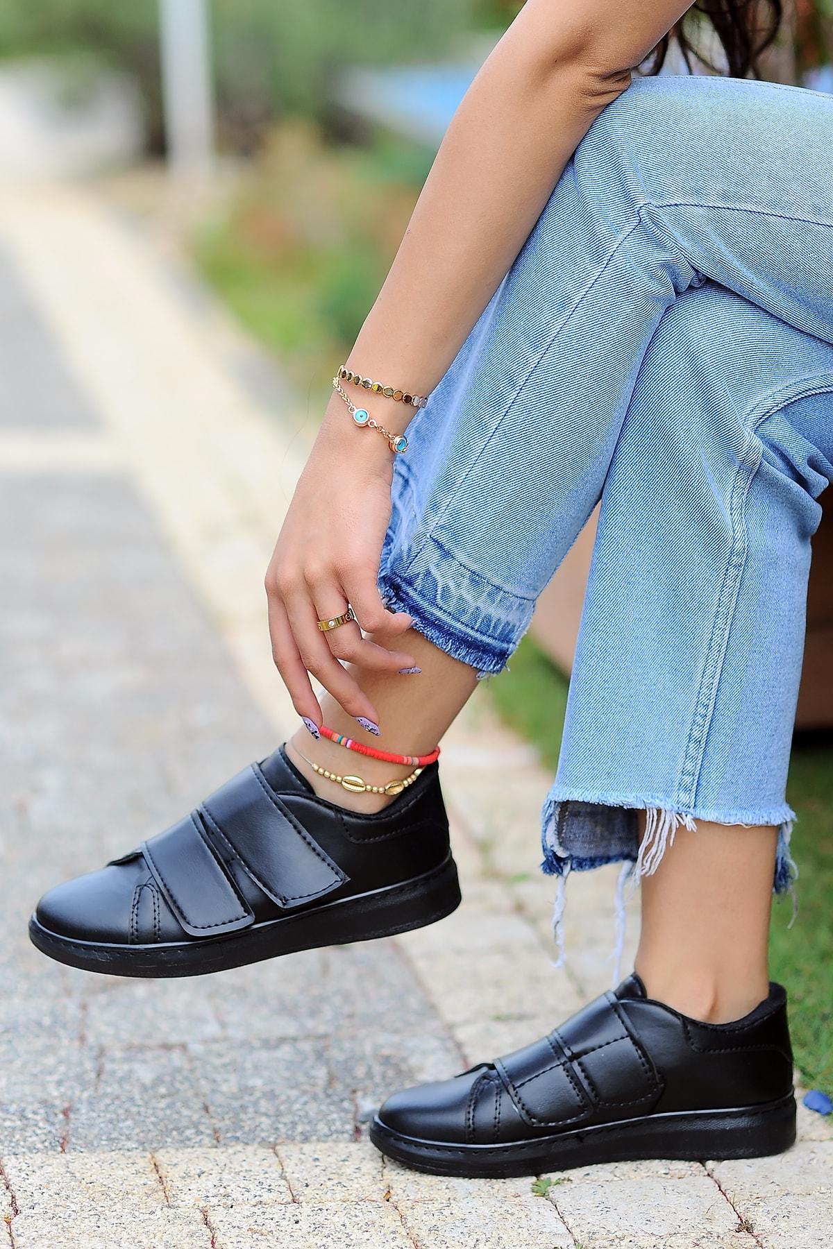 Pembe Potin Kadın Siyah Siyah Ayakkabı 1