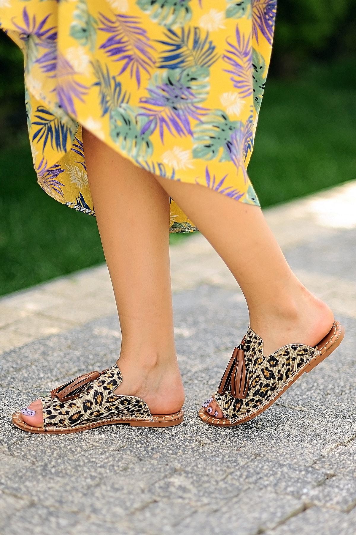 Pembe Potin Kadın Leopar Sandalet 1
