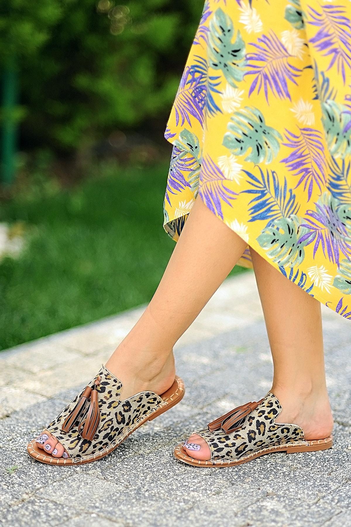 Pembe Potin Kadın Leopar Sandalet 2