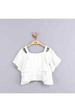 NK Kız Çocuk Volanlı Askılı Pamuk Astarlı Peştemal Bluz
