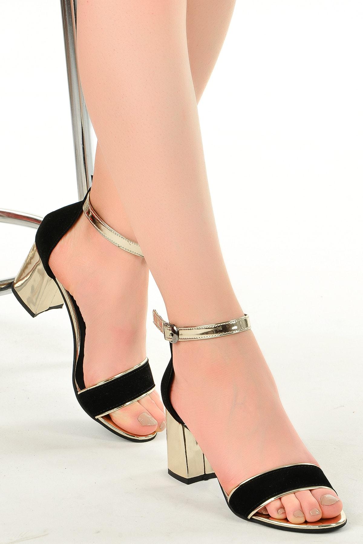 Ayakland 2013-03 Rugan 7 Cm Topuk Bayan Sandalet Ayakkabı 1