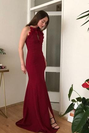 TRENDYOLMİLLA Bordo Yaka Detaylı  Abiye & Mezuniyet Elbisesi TPRSS20AE0255