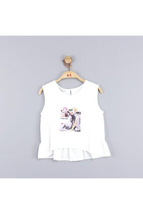 NK Kız Çocuk Istiridye Pullu Arkası Fırfırlı Bluz