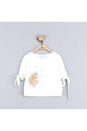 NK Kız Çocuk Yaprak Desenli Kahve Boncuklu Pamuk Bluz