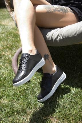 Ayakkabı Modası Siyah Beyaz Kadın Spor Ayakkabı 4000-20-101001