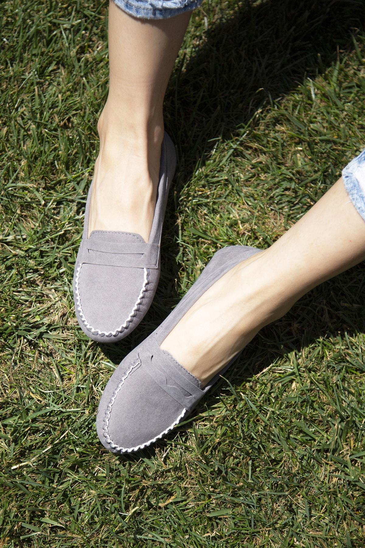 Ayakkabı Modası Gri Kadın Babet 5008-20-111008 1