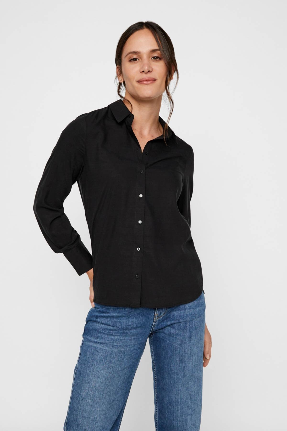 Vero Moda Kadın Siyah Siyah Uzun Kollu Lyocell Gömlek 10218724 VMTANYA 1
