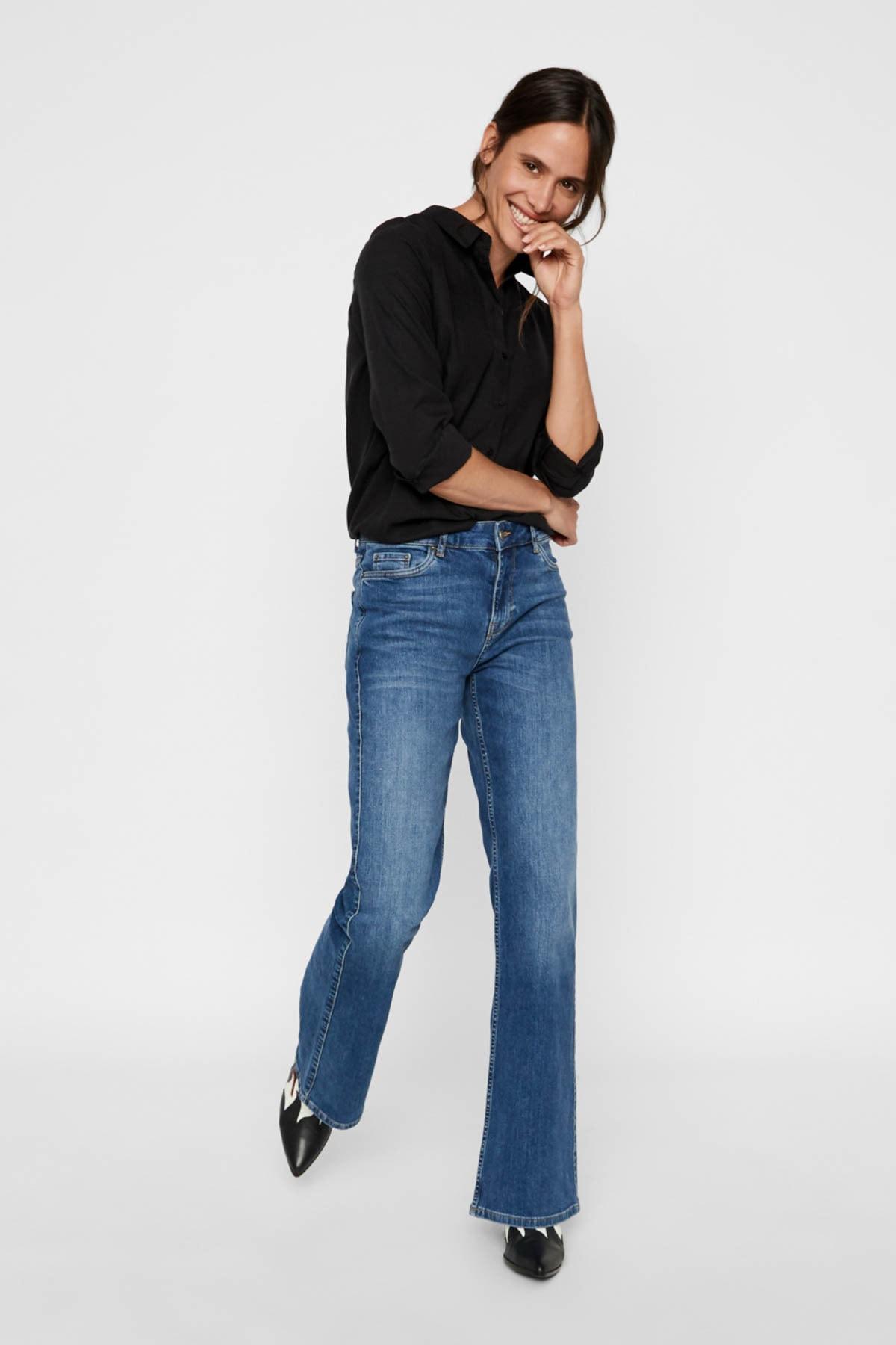 Vero Moda Kadın Siyah Siyah Uzun Kollu Lyocell Gömlek 10218724 VMTANYA 2