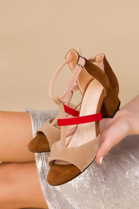 SOHO Taba-Ten-Kırmızı Kadın Klasik Topuklu Ayakkabı 15077