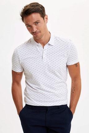 DeFacto Erkek Beyaz Mikro Desenli Slim Fit Polo T-Shirt N6393AZ.20SM.WT34
