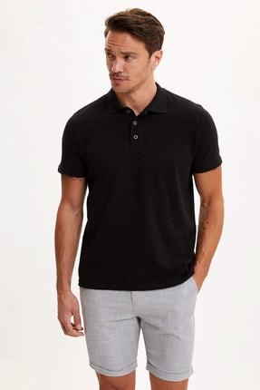 DeFacto Erkek Siyah Polo Yaka Kısa Kollu Regular Fit T-Shirt