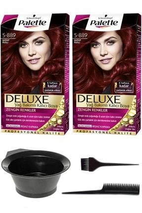 SCHWARZKOPF HAIR MASCARA 2'li Palette Deluxe 5-889 Şarap Kızılı Saç Boyası Ve Saç Boyama Seti 8671255491612