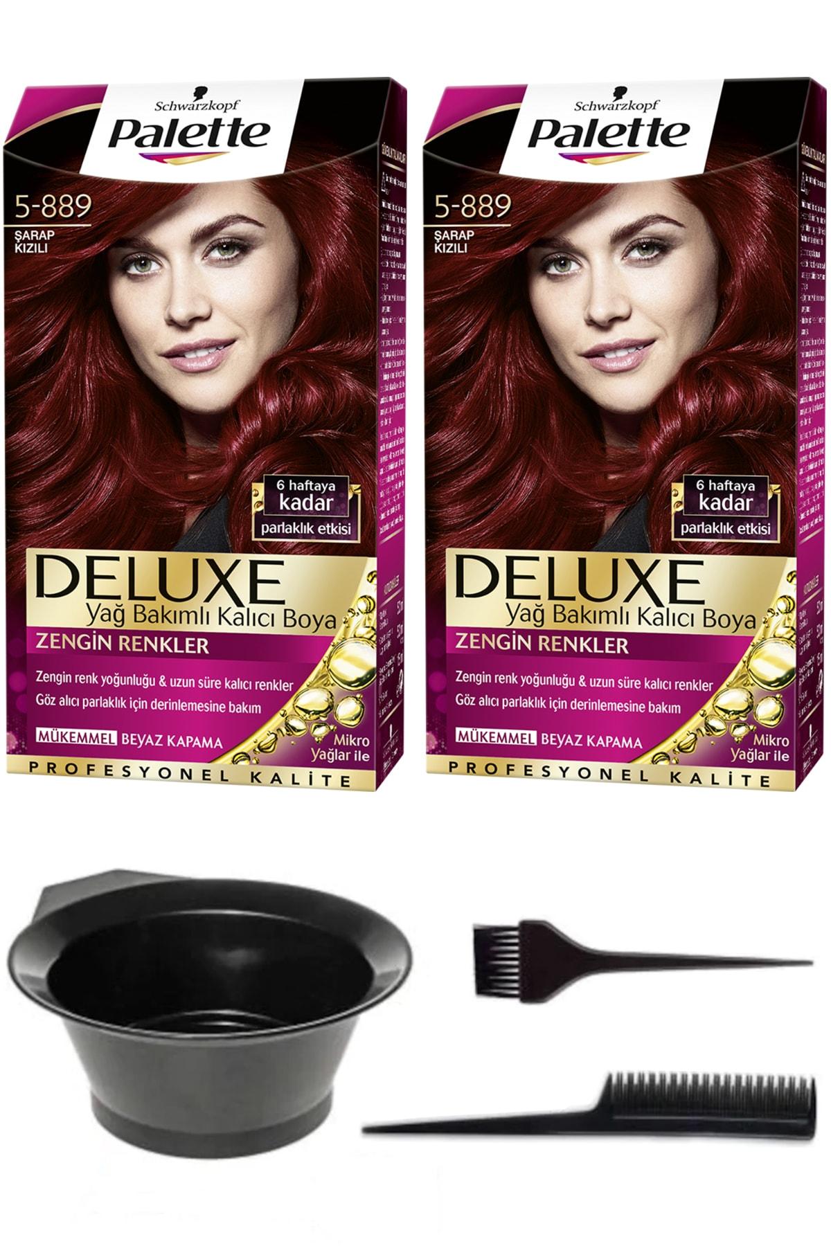 SCHWARZKOPF HAIR MASCARA 2'li Palette Deluxe 5-889 Şarap Kızılı Saç Boyası Ve Saç Boyama Seti 8671255491612 1