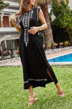 XHAN Kadın Siyah Etnik Desenli Viskon Elbise 0YXK6-43483-02