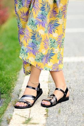 Pembe Potin Kadın Siyah Kurşun Sandalet