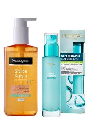 Neutrogena Sivilce Karşıtı Yüz Temizleme Jeli Ve Loreal Nem Terapisi Aloe Vera Suyu Normal Ve Karma Ciltler