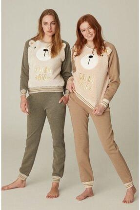 Feyza Pijama Feyza Kadın Kahverengi Peluş Pijama Takımı 3552