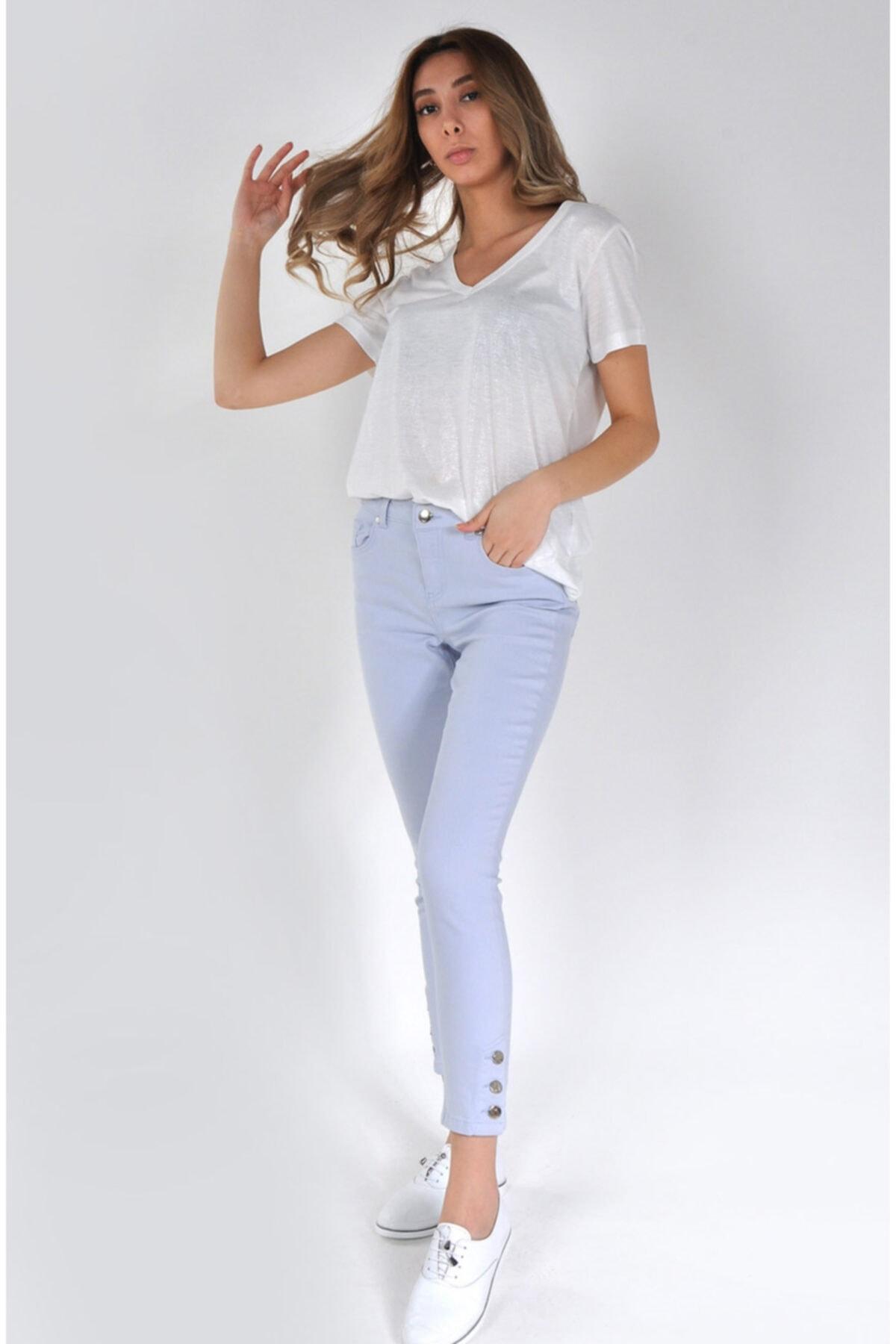 Min Jeans Kadın Buz Mavisi Paçası Düğme Detaylı Skinny Jeans Mın-024y 1