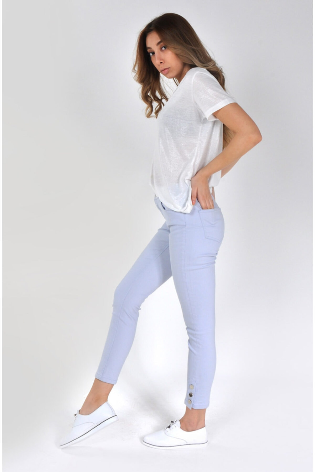 Min Jeans Kadın Buz Mavisi Paçası Düğme Detaylı Skinny Jeans Mın-024y 2
