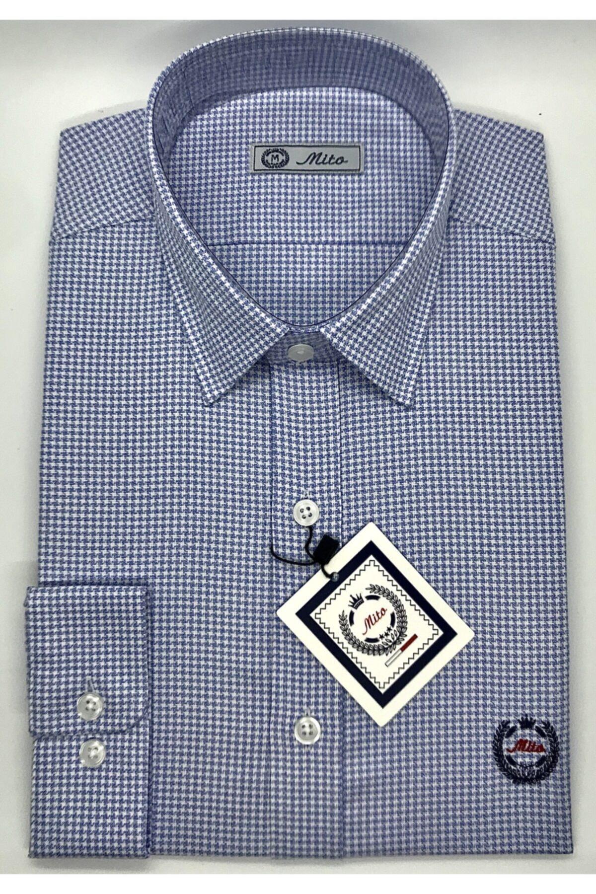 Mito Erkek Mavi Kaz Ayağı Desenli Klasik Slim Fit Gömlek 1