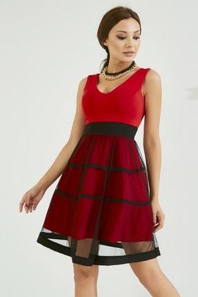 Sateen Kadın Kırmızı Eteği Tül Elbise