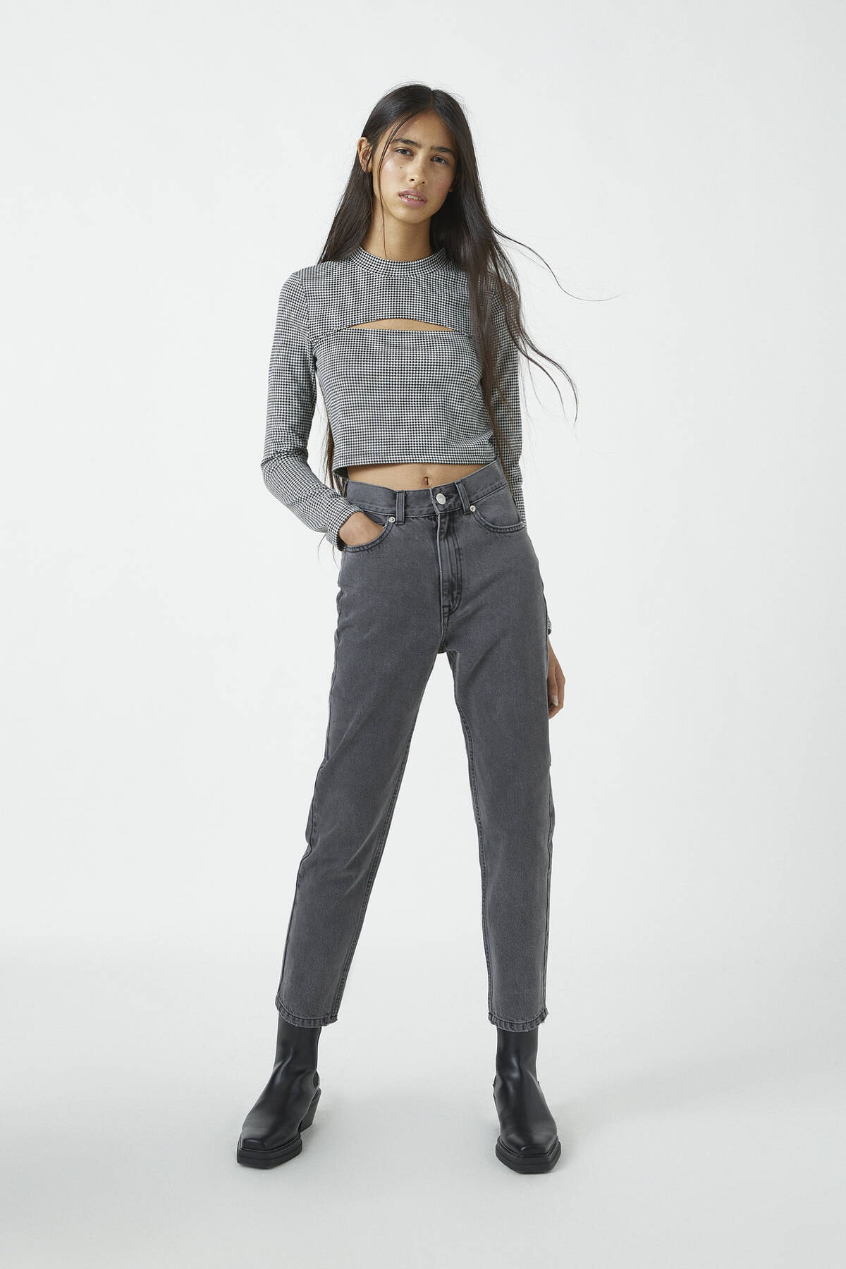 Pull & Bear Kadın Antrasit Gri Basic Mom Fit Jean 09683320