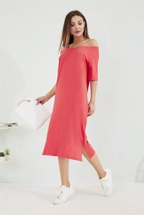 Sateen Kadın Mercan Omuz Detaylı Midi Elbise