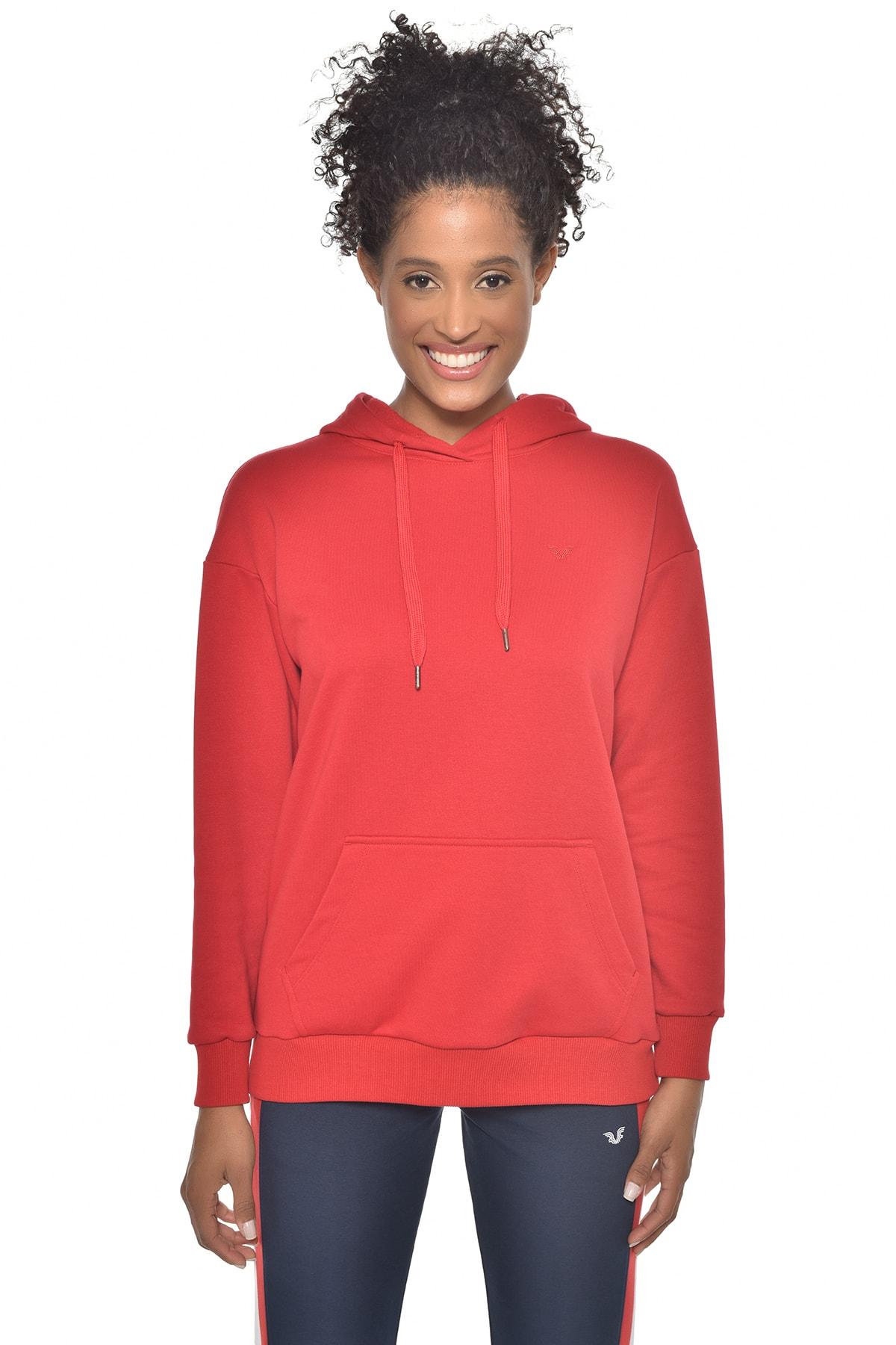 bilcee Kırmızı Kadın Kapüşonlu Sweatshırt GW-8785 1
