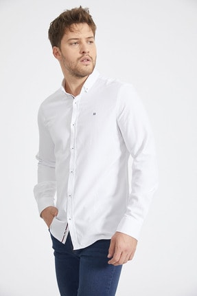 Avva Armürlü Düğmeli Yaka Slim Fit Gömlek