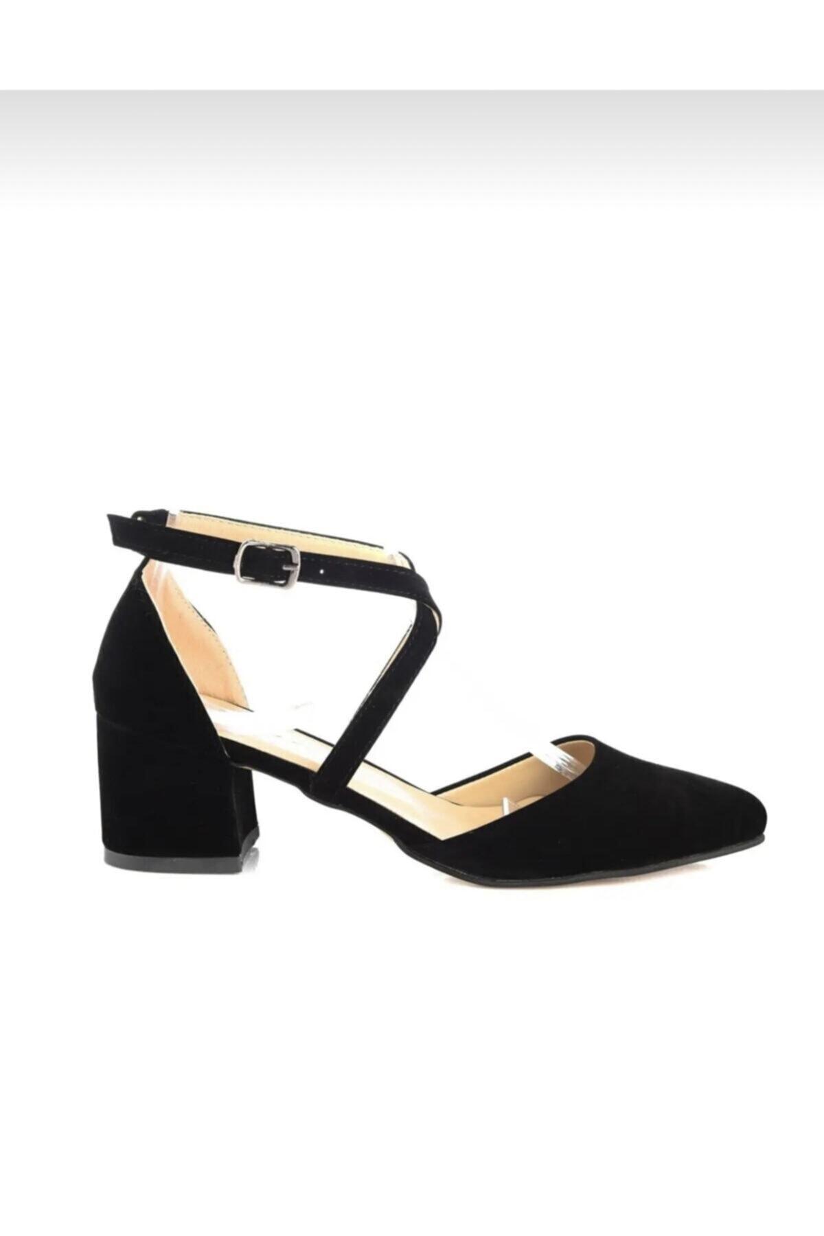 FEMA Kadın Siyah Süet Çapraz Klasik Topuklu Ayakkabı 2